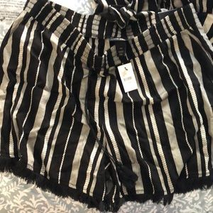 Lane Bryant Shorts - NWT Lane Bryant Striped Fringe-hem Soft Short